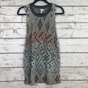 Leith Sleeveless Aztec Printed Sweater